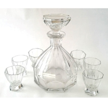 1920's Art Deco Decanter with Six Shot Glasses