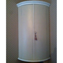 French style painted mahogany bow-fronted hanging corner cupboard