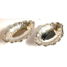 A Pair of Super Silver Scroll Design Bon Bon Dishes