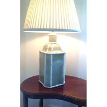 Green and Cream Bamboo Style Lamp