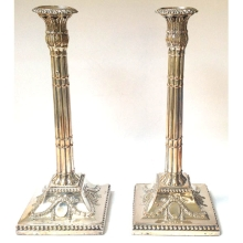 A Pair of Super Silver Plated Candlesticks