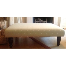 Pale Green Spotty Fabric covered footstool
